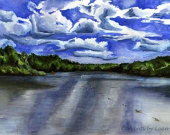 Lake Mokoma - Watercolor Print
