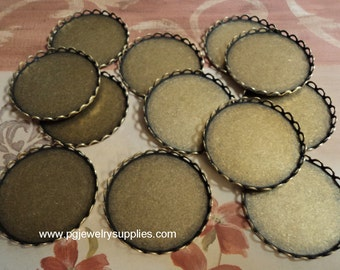 28mm Round brass ox lace edge cabochon settings 12 pieces lot l