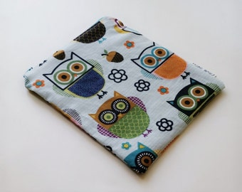 Owls snackbag, reusable pouch, food storage bag,  sandwich bag, ecofriendly reusable bag
