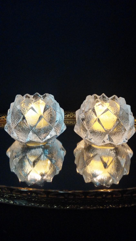 Candle Holders Swedish Orrefors Crystal Artichoke Firefly