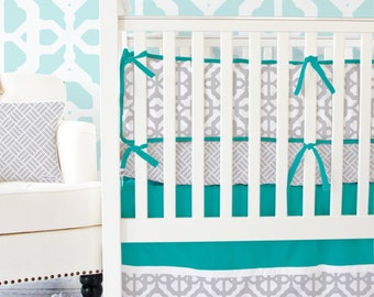 15% OFF SALE- Teal and Gray Lattice Designer Baby Bedding | 2 or 3 Pc Gender Neutral Crib Set