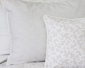 Taupe and White Pillow Sham-50% OFF