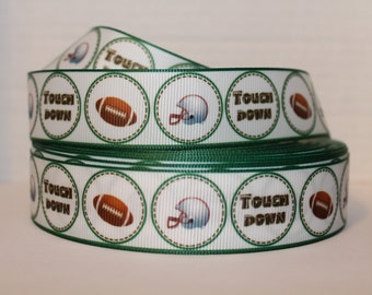 "5 Yard Grosgrain Ribbon 1"" Touchdown, Football, Helmet Green Brown Sports"
