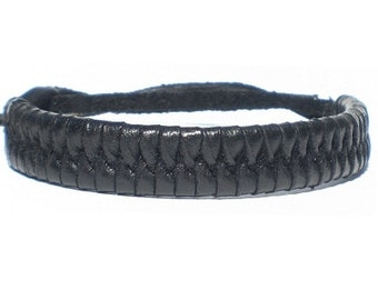 Black real leather tie on plaited woven wristband strap band friendship bracelet