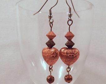 Copper Heart Earrings,  Dangle Drop Earrings, Beaded Earrings, Southwestern Country Western Wear, Cowgirl Boho, ID 180478140