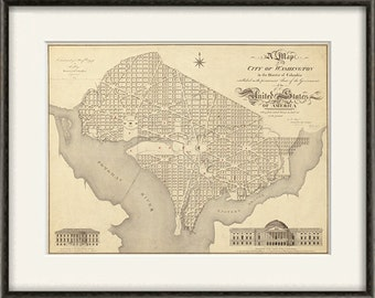 Washington DC map print map vintage old maps Antique map poster map decor home decor wall map city old prints washington dc print 12x16