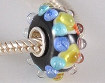 CLEARANCE - MultiColor Murano European Bead Charm .925 Sterling Silver -  pgj5166