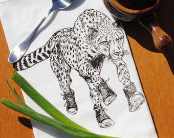 Kitchen Dish Towel -  Cheetah with Converse Screen Print - Eco Friendly Cotton Flour Sack Towel - African Safari Theme