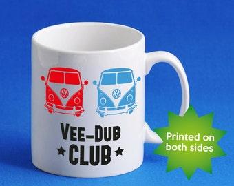 Vee-Dub-Club VW Volkswagen T1, T2 camper van MUG / cup, camping, mens womens birthday gift, Christmas gift idea M0013