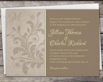 Floral Vintage - Wedding Invitation Set - Digital Files