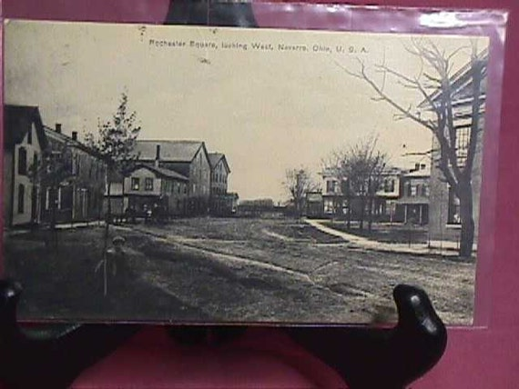 Vintage real photo Postcard  Rochester Square looking west  Navarre Ohio   used   1914