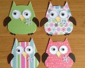 4 Assembled christmas Owl Card toppers die cuts for cardmaking/scrapbooking