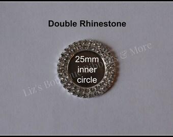 5 pc Double rhinestone chrome  flat bottle caps for hair bows