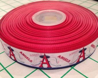 "Anaheim Angels inspired Baseball Ribbon 7/8"""