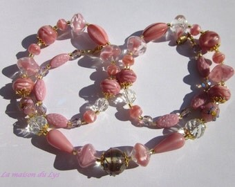 Old pearls and glass beads, unique, romantic vintage pink