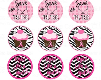 INSTANT DOWNLOAD Breast Cancer Awareness Bottle Cap Images 4X6 collage sheet