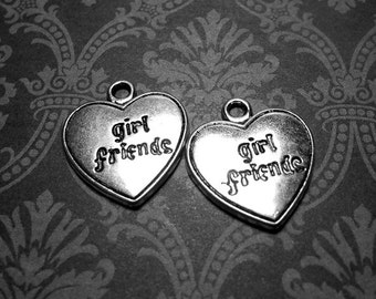 2 Girl Friends Charms Silver Heart 20mm,  Friends Charm, Charms for Jewlery Making, Heart Pendant SC0027