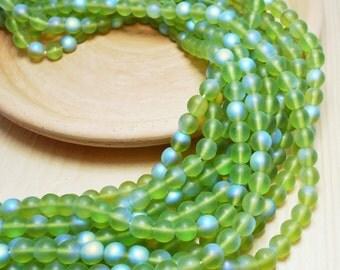 6mm Olivine Round Czech Beads Matte AB, Green Beads, Olivine Beads, Yellow Green Beads, Matte Olivine, Yellow-Green, Green Matte Beads T-8D