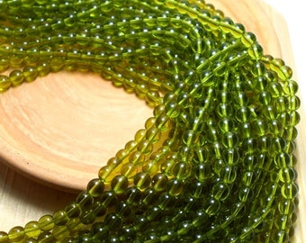 6mm Olivine Czech Beads, Lime Green Beads, Yellow Green Beads, Green Beads, 6mm Green Beads, 6mm Lime Green Beads, Shiny Green Beads T-013B