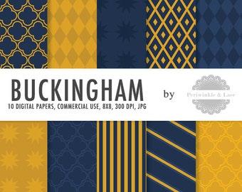 Buckingham Navy and Gold Digital Paper - Commercial Use - Instant Download