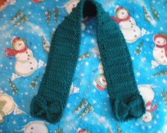 Girl's Knit Scarf, Girl's Teal Scarf, Toddler Scarf, Teal Handknit Scarf, Girl's Handknit Scarf