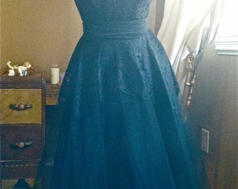 40's - 50's Black Formal Party Dress