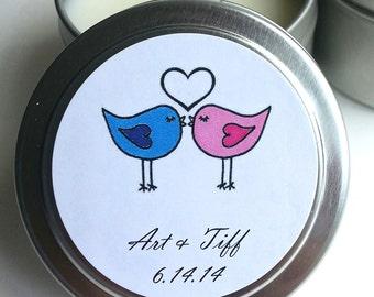 12 Custom Wedding Favor Candles (D5) - 4oz Tins