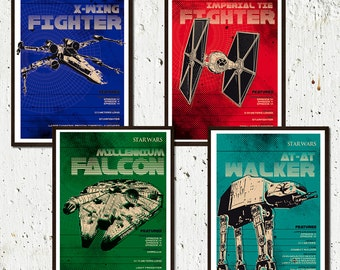 Star Wars Spaceships Poster Set - Digital Prints different sizes - AT AT- XWING -Millenium Falcon - Imperial Tie