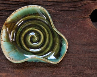 Stoneware pottery spoon rest Rainbow Trout Green Turquoise tone