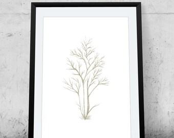 Tree, Printable Art, Glitter, Gold, wall decor, illustration