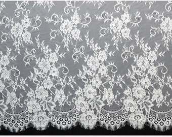 "1yard/3Yards*59"" white eyelash lace fabric  , Chantilly Eyelash Lace Fabric in white  for Wedding Gowns, black eyelash lace fabric"