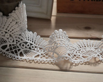 Antique lace trim, white cotton lace ,skirt Cotton lace Trim solubility lace Lace Trim Floral Lace