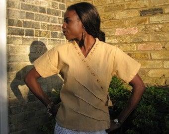 Hand Sewed Crosed Over Ethnic Shirt