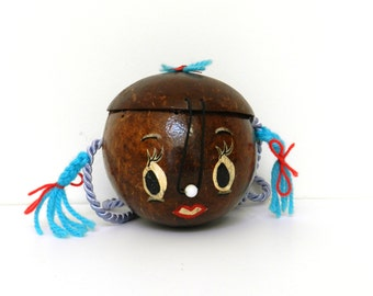 Cute Vintage Coconut Girl purse - Retro - Kitsch - made in 1994