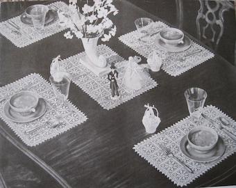 Crochet Pattern - Bridal Lace Luncheon Set - Vintage 1950's