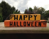 Halloween,Primitive, Wooden Blocks, Spider Web, Vinyl, Shelf Sitters, FAAP, OFG, Happy Halloween, Signs