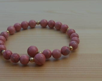 Dark Pink Bracelet Semi-Precious Breciated Jasper Stone Bead And Metal Gold-Plated Bead Adjustable Wire Bracelet In Gift Box