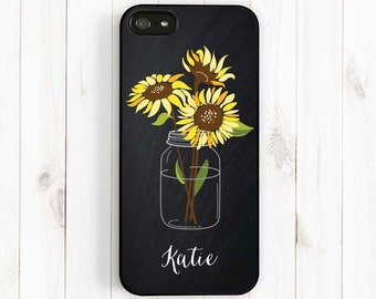 Chalkboard Sunflower Mason Jar Personalized First Name iPhone 7 6 Plus Case, iPhone 5S 5C 5 4S, samsung Galaxy S3 S4 S5, Note 3 ch02