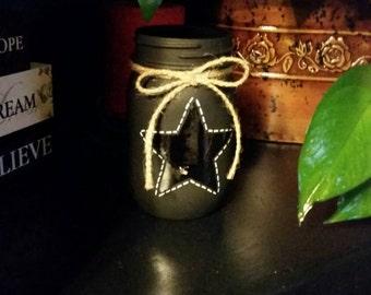 Black mason jar with star, star mason jar, chalk board paint, rustic, primitive