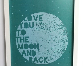 DIGITAL DOWNLOAD - Love You To The Moon And Back Digital Typography, Wall Art Print - JPEG
