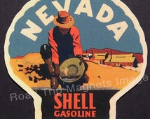 Shell Gasoline 1920s Travel Decal Magnet for NEVADA. Accurate reproduction & hand cut in shape as designed. Nice Travel Decal Art