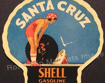 Shell Gasoline 1920s Travel Decal Magnet for SANTA CRUZ. Accurately Reproduced & hand cut in shape as designed. Nice Travel Decal Art