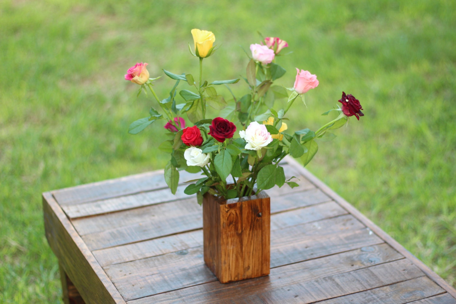 Recycled wooden flower pots natural wood plant by for Recycled flower pots