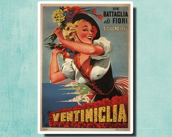 19TH Battle of Flowers, VENTIMIGLIA by Filippo Romoli Vintage Poster 1957 - Italy - SG2376
