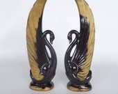 Vintage Black Swan Figurines, Pair, Mid-Century Ceramic Figurines