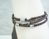 Double Wrap Leather Ankle Bracelet /Anklet for Men or Women Petite to Plus Size