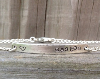 Personalized Sterling Silver Bar Name Bracelet-Custom Mother Hand Stamped Jewelry