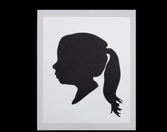 Custom Silhouette Portrait, Personalized Children's Silhouette Art, Profile,Custom Gift,Custom Keepsake, Nursery Art- 5x7 or 8x10 - BLACK