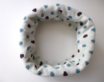 Cream Knitted Scarf With Green and Purple Spots