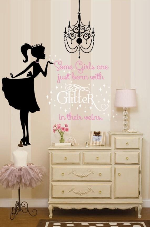 Items similar to ballerina wall decal glitter wall decal for Ballerina wall mural